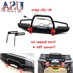 1/10 Metal Front Bumper w/ Winch Mount LEDs for Traxxas TRX-