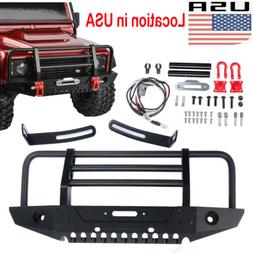 1/10 RC Metal Front Bumper Winch Shackles Mount LED light Fo