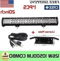 "20'' inch 126W Led light Bar+23"" Bull Bar Front Bumper Licen"