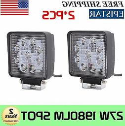 2PCS 4Inch 27W Square Spot Beam Led Work Light Driving Fog L