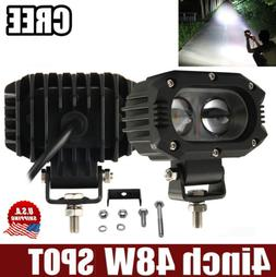 "4"" INCH 48W Led Work Light Fog Pod Spot Cube Offroad SUV ATV"