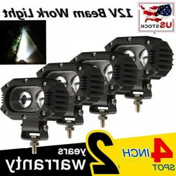 "4pcs 4"" INCH Led Work Light Fog Pod Spot Cube Offroad SUV AT"