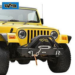 EAG Front Bumper W//D-ring Black Textured for 87-06 Jeep Wrangler TJ YJ