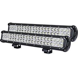 Nilight Light Bar 2PCS 20 Inch 126W LED Lights Spot Flood Co