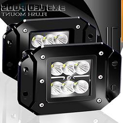 Turbo 2pcs Flood 3x3 Dually Flush Mount Led Light Lamps Dual