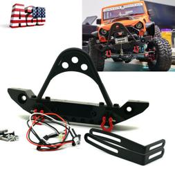 Alloy Front Bumper W/ LED Light for 1/10 RC TRX4 Axial SCX10
