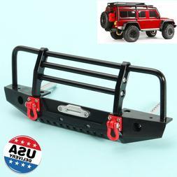Black Aluminum Alloy Front Bumper w/LED Light For TRX-4 SCX1