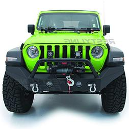 Restyling Factory -Black Textured Full Width Front Bumper Wi