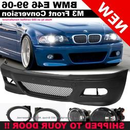 BMW E46 99-05 M3 Style Front Bumper Fluted Fog Lights Clear