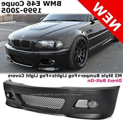 BMW E46 Coupe 99-05 M3 Style Front Bumper Fluted Fog Lights