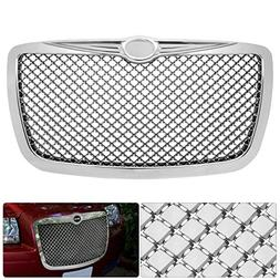For Chrysler 300 300C Badgeless Chrome Diamond Mesh Front Ho