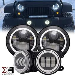 "4XBEAM DOT Approved 7"" LED Round Projector Headlights Amber"