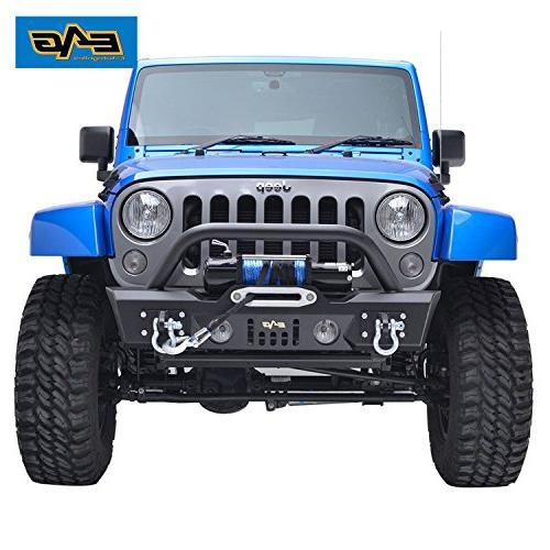 E-Autogrilles 07-16 Wrangler JK Black Stubby Front Fog Lights