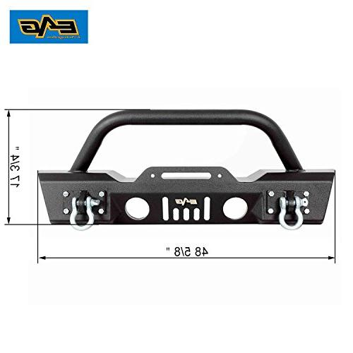 E-Autogrilles 51-0357 Wrangler JK Black Stubby Bumper With Fog Lights