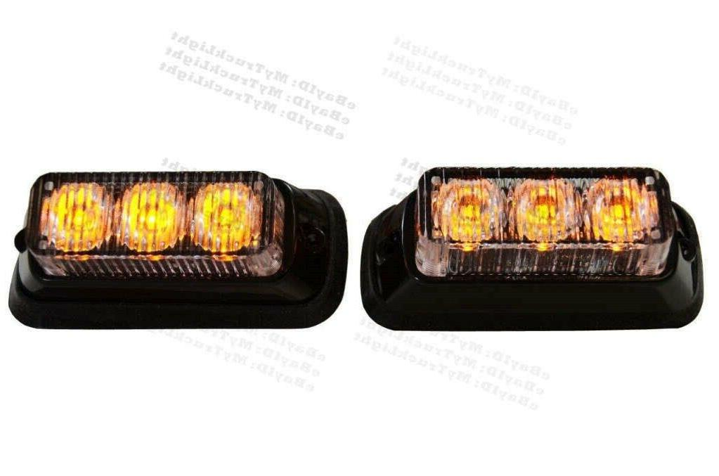 2X Super Bright Front Bumper Grille 3 LED Amber Warning Flas