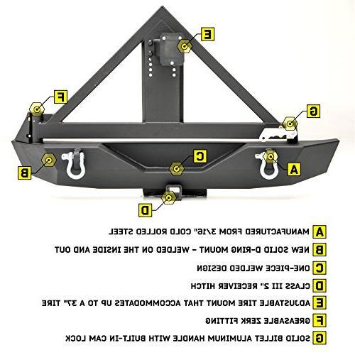 Smittybilt XRC Black Textured Rear Bumper for Wrangler/Wrangler