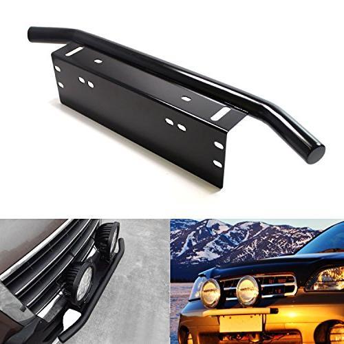 iJDMTOY Bull Stainless Steel Front Bumper License Holder LED Work Lighting