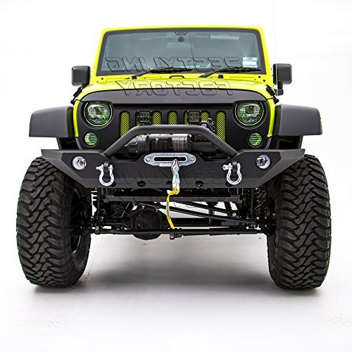 Restyling Factory -Black Front Bumper With Lights D-Ring Plate for JK
