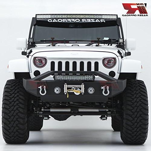 Razer Black Textured Rock Crawler Bumper with OE Light 2x D-Ring Light Winch Mount 07-18 Jeep Wrangler