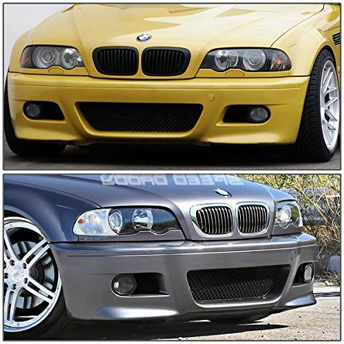 For BMW 3-Series Unpainted Front Mesh Grille + Light