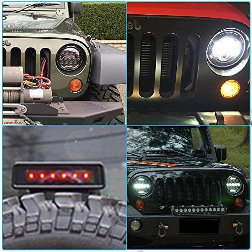 Round DRL + 2PCS LED Turn + 2PCS Bumper Fog 1PCS LED 3rd Brake Light For Jeep