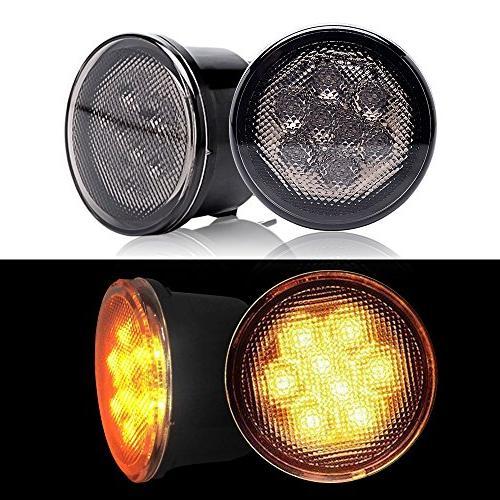 DOT Round Headlights Hi/Lo DRL Amber/Yellow LED Signal Bumper Lights 1PCS LED