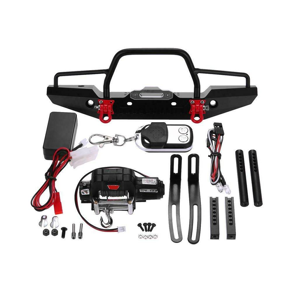 Metal Front Bumper LED Winch Controller Tools Kit Set for RC