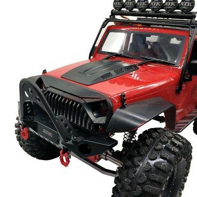 ALLOY Bumper With LED LIGHT SHACKLE Traxxas TRX-4 SCX10 II JEEP