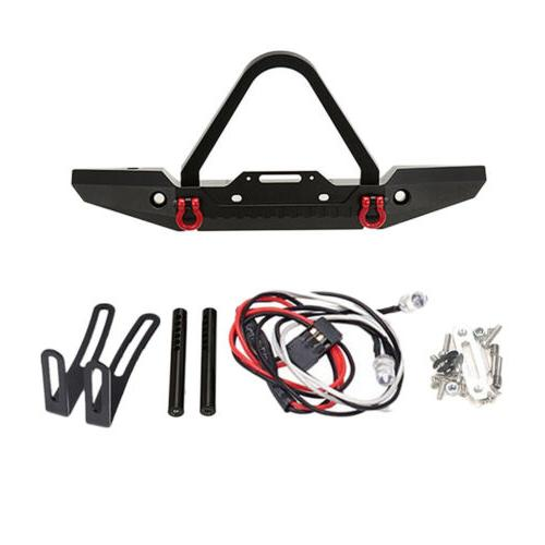 Metal Front Bumper w/ Winch Mount LEDs for Traxxas TRX-4 1/1