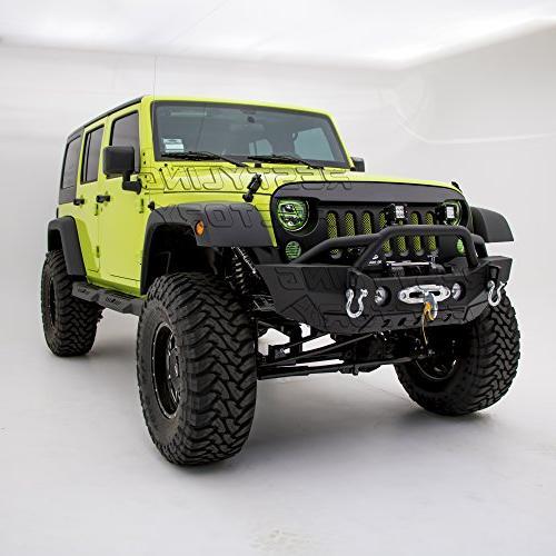 Restyling Factory-Rock Bumper Fog Lights Hole & In Winch Plate Black for Jeep Wrangler JK