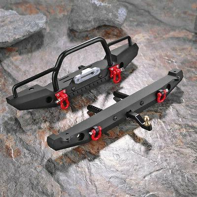 For SCX10II RC Car Metal Front Bumper+Rear Bumper Lights