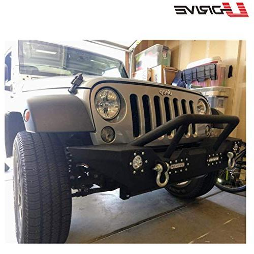 U-Drive Front Bumper-15 with LED Rock Crawler W/Winch for 2007-2018 Jeep Wrangler JK