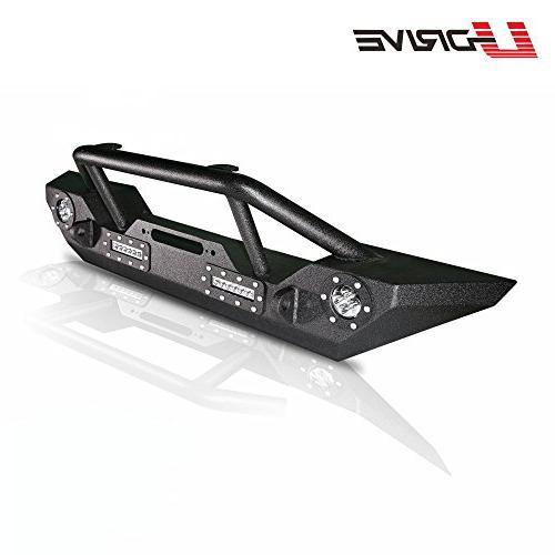 U-Drive Black Front Bumper-15 4 LED Crawler W/Winch Plate for 2007-2018 Jeep