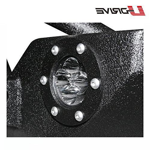 U-Drive Black Textured Front LED Lights Rock W/Winch Plate 2007-2018 Jeep