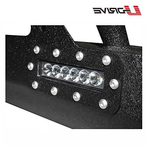 U-Drive Black Textured Front Bumper-15 LED Lights Rock W/Winch for Jeep Wrangler JK