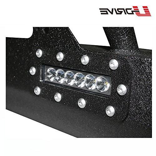 U-Drive Black Textured Front Bumper-15 LED Lights Rock W/Winch for Jeep Wrangler JK