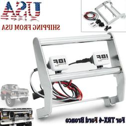 Metal Front Bumper + 2 LED Light for 1/10 RC Traxxas TRX-4 F