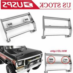 Metal Front Bumper w/2LED Light for 1/10 RC Traxxas TRX-4 Fo