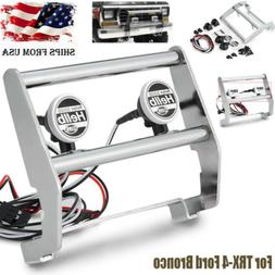 Metal Front Bumper w/ LED Light for 1/10 RC Traxxas TRX-4 Fo