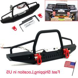Metal Front Bumper w/ LED light Winch Mount For TRAXXAS TRX-