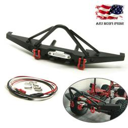 Metal Front Bumper with LED Kit For 1/10 RC Axial SCX10 II 9
