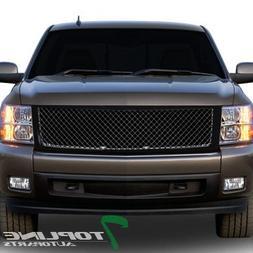 Topline Autopart Glossy Black Mesh Front Hood Bumper Grill G