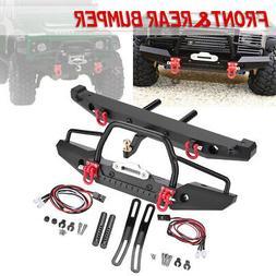 For TRX-4 SCX10II RC Car Metal Front Bumper+Rear Bumper w/ 4